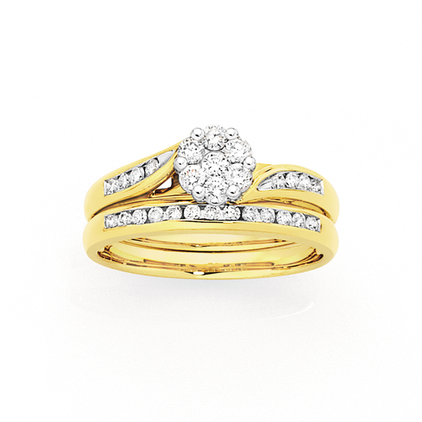 9ct Gold Diamond Cluster Bridal Set