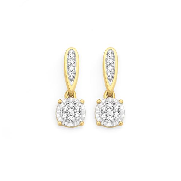 9ct Gold Diamond Cluster Drop Stud Earrings