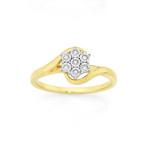 9ct Gold Diamond Cluster Swirl Ring