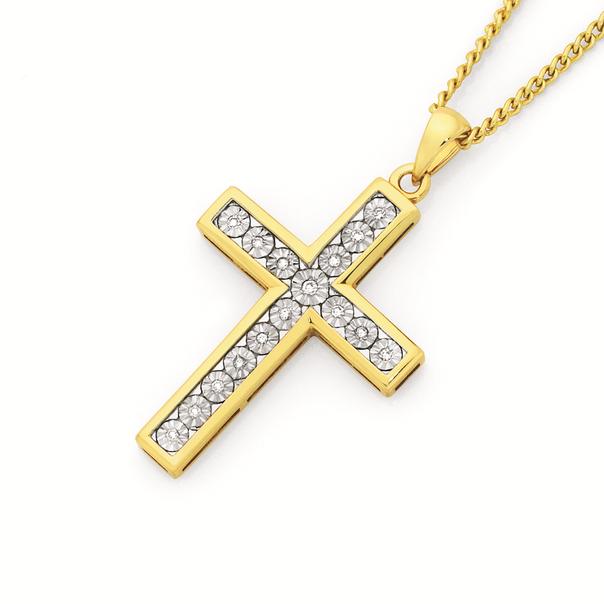 9ct Gold Diamond Cross Pendant