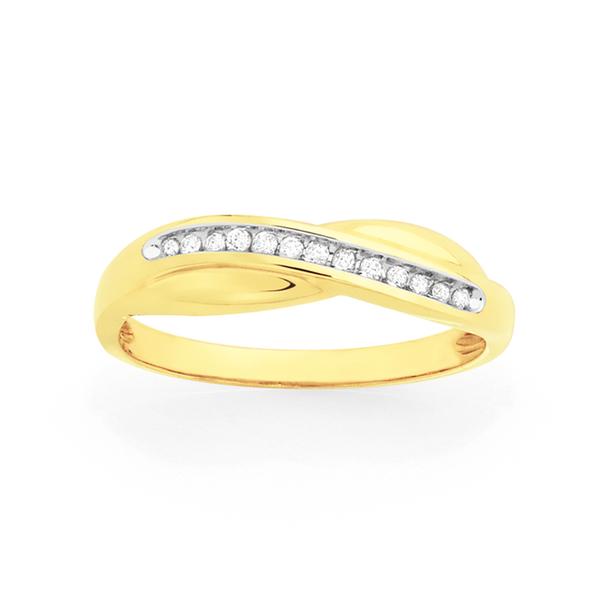 9ct Gold Diamond Crossover Dress Ring