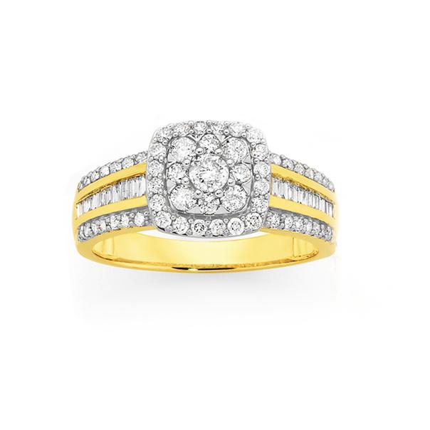9ct Gold Diamond Cushion Frame Cluster Ring
