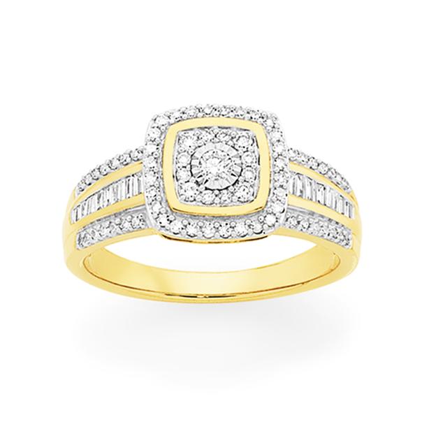 9ct Gold Diamond Cushion Shape Ring