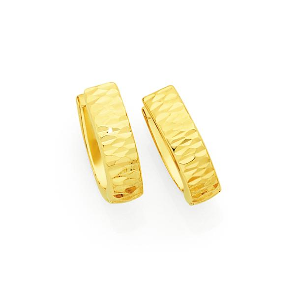 9ct Gold Diamond-cut Huggie Earrings