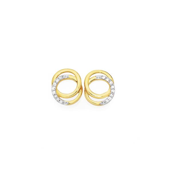 9ct Gold Diamond Double Circle Stud Earrings