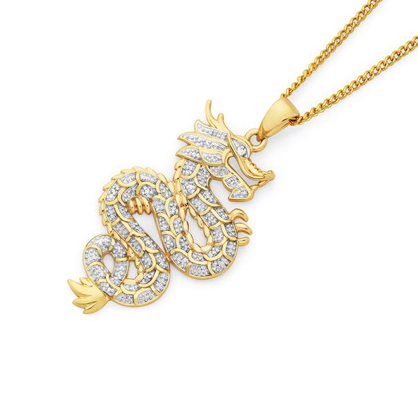 9ct Gold Diamond Dragon Pendant