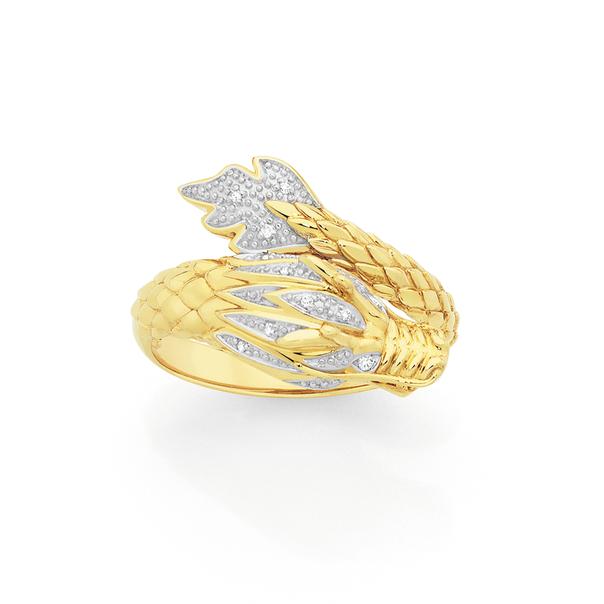 9ct Gold Diamond Dragon Ring