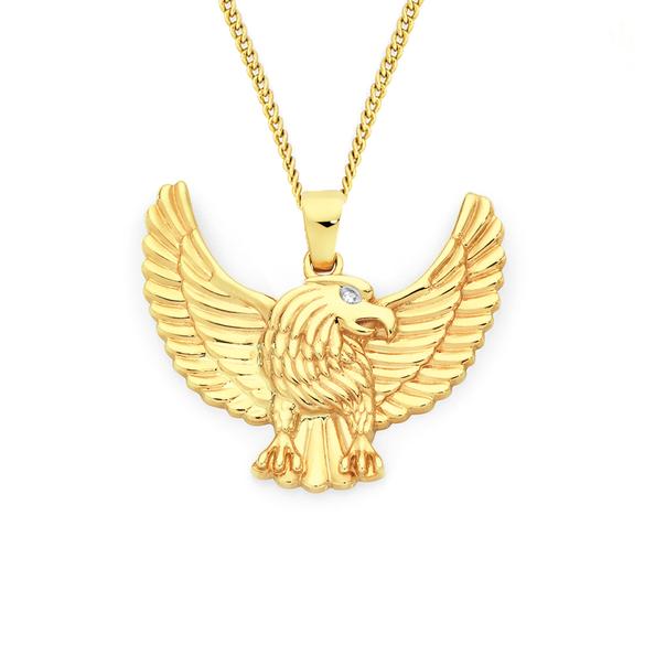 9ct Gold Diamond Eagle Pendant