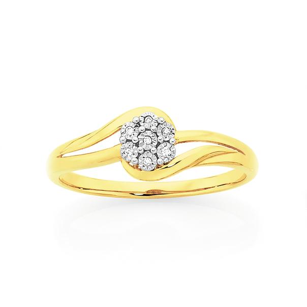 9ct Gold Diamond Flower Swirl Dress Ring