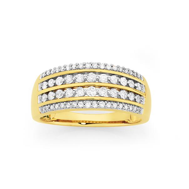 9ct Gold Diamond Four Row Dress Ring