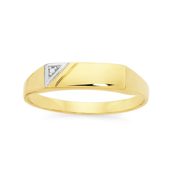 9ct Gold Diamond Gents Signet Ring