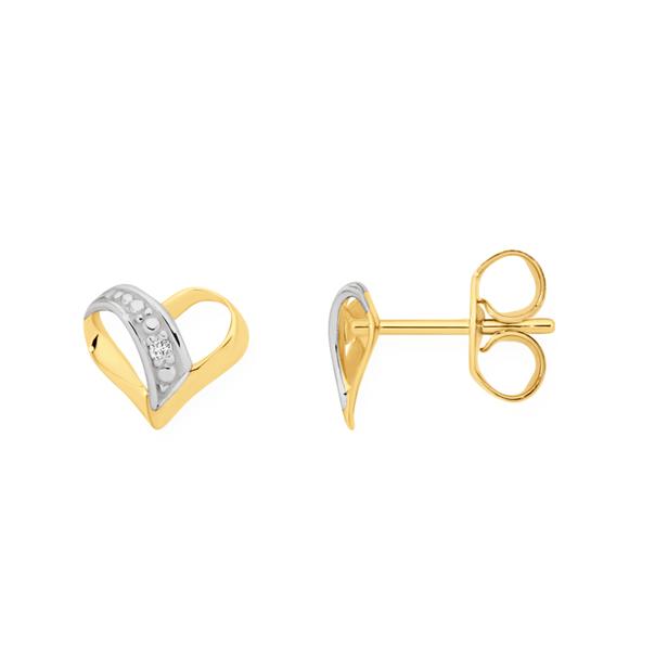 9ct Gold Diamond Heart Stud Earrings