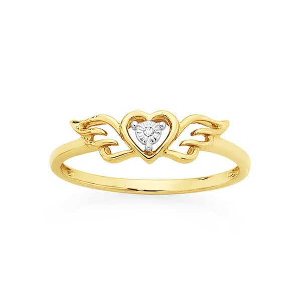 9ct Gold Diamond Heart with Wings Dress Ring