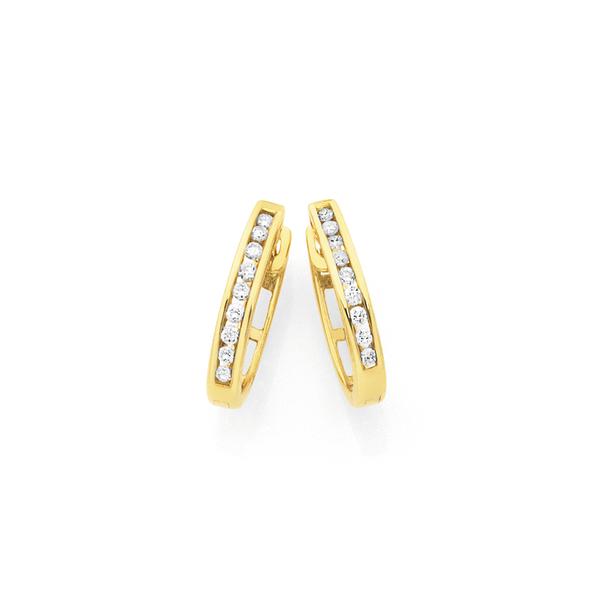 9ct Gold Diamond Huggies