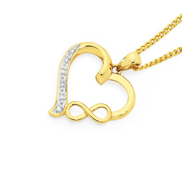 9ct Gold Diamond Infinity Heart Pendant