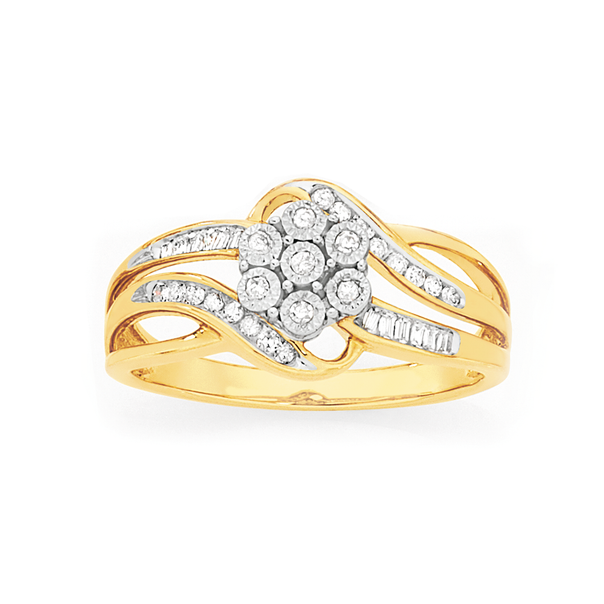 9ct Gold Diamond Miracle Set Cluster Ring