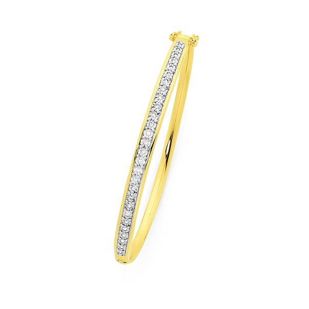 9ct Gold Diamond Miracle Set Hinge Bangle