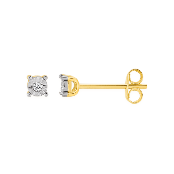 9ct Gold Diamond Miracle Set Stud Earrings