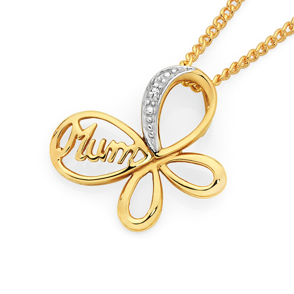 9ct Gold Diamond 'Mum' Butterfly Pendant