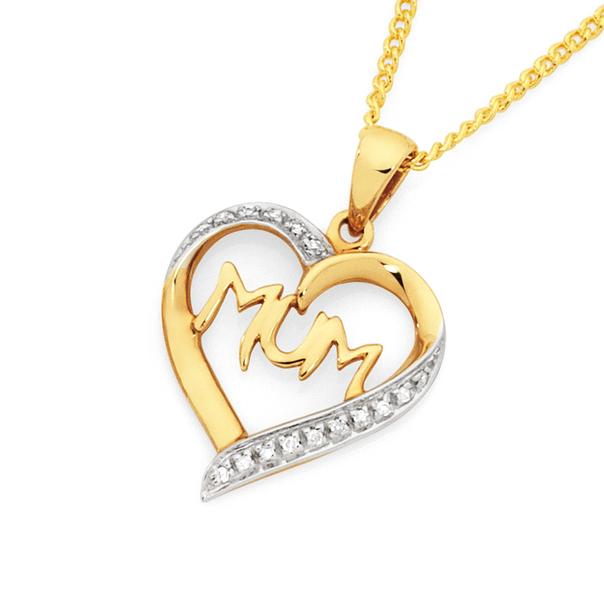 9ct Gold Diamond 'Mum' Heart Pendant