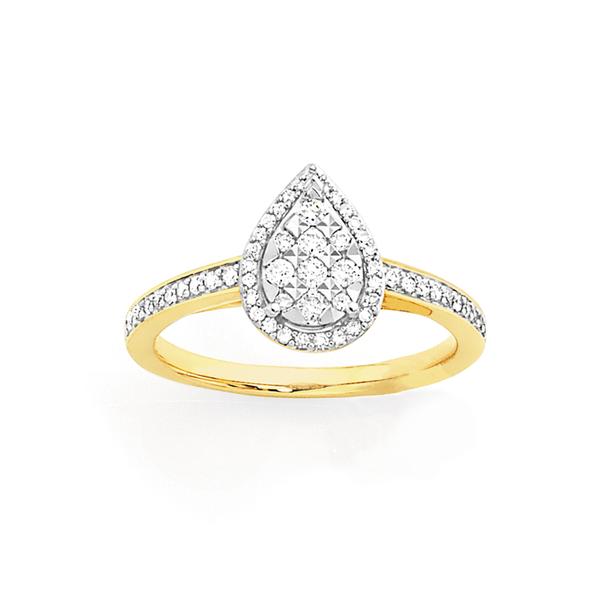 9ct Gold Diamond Pear Shape Ring