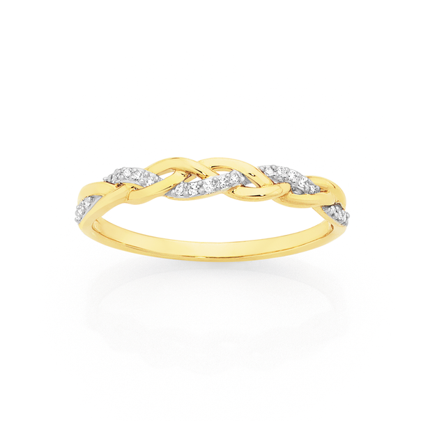 9ct Gold Diamond Plait Ring