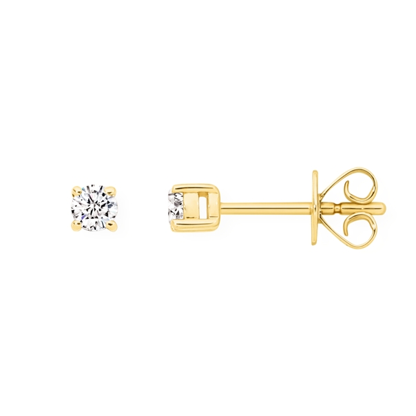 9ct Gold Diamond Round Brilliant Claw Set Studs