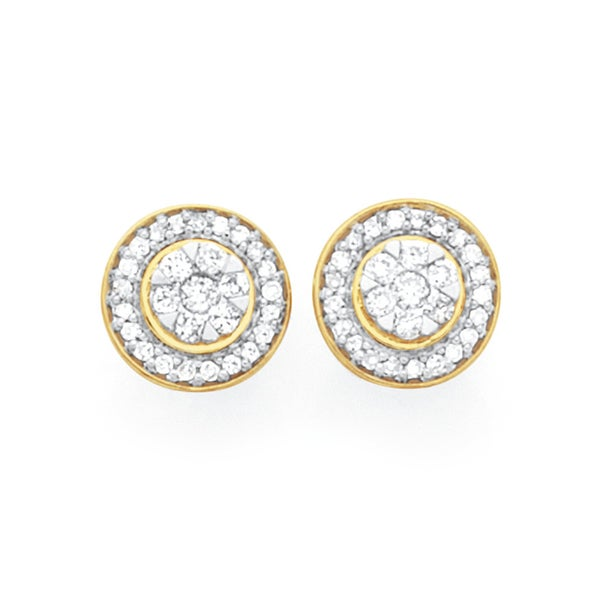 9ct Gold Diamond Round Brilliant Cut Cluster Frame Stud Earrings