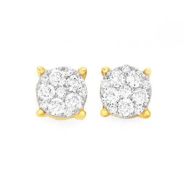 9ct Gold Diamond Round Brilliant Cut Cluster Stud Earrings