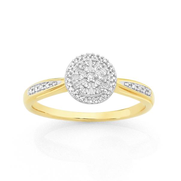 9ct Gold Diamond Round Cluster Ring