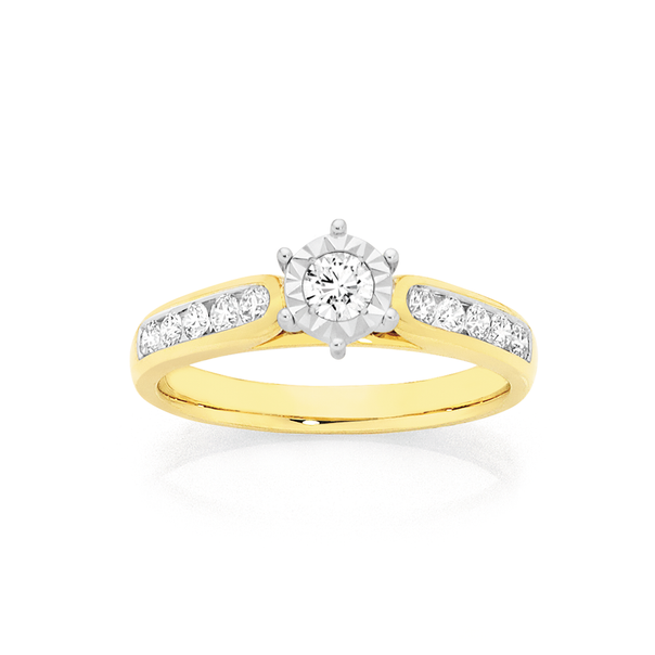 9ct Gold Diamond Shoulder Solitaire Ring