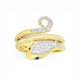 9ct Gold Diamond Snake Ring
