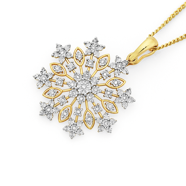 9ct Gold Diamond Snowflake Pendant