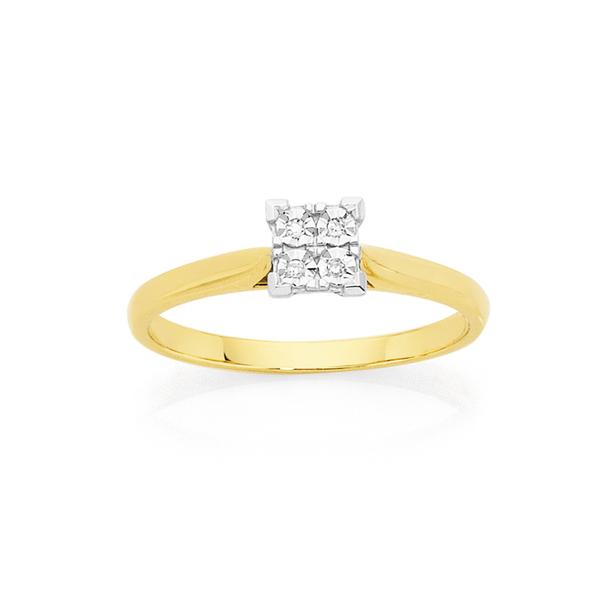 9ct Gold Diamond Square Shape Ring