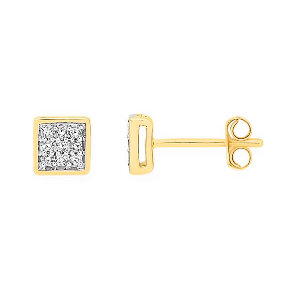 9ct Gold Diamond Square Stud Earrings