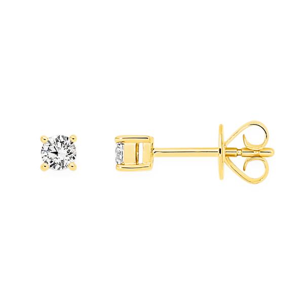 9ct Gold Diamond Stud Earrings