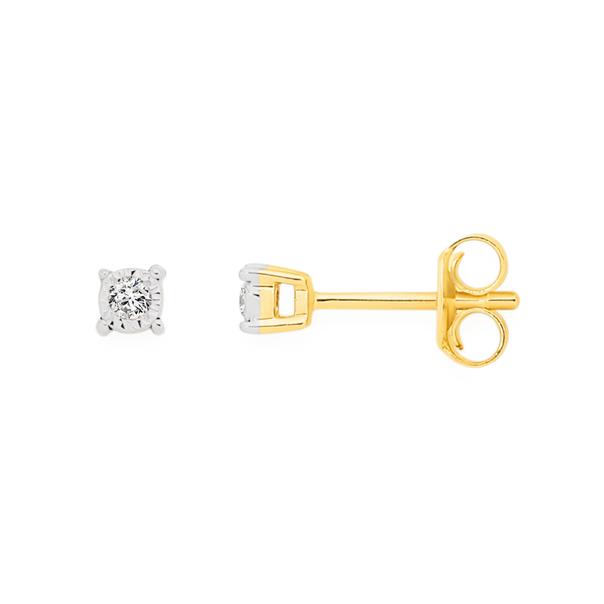 9ct Gold Diamond Studs