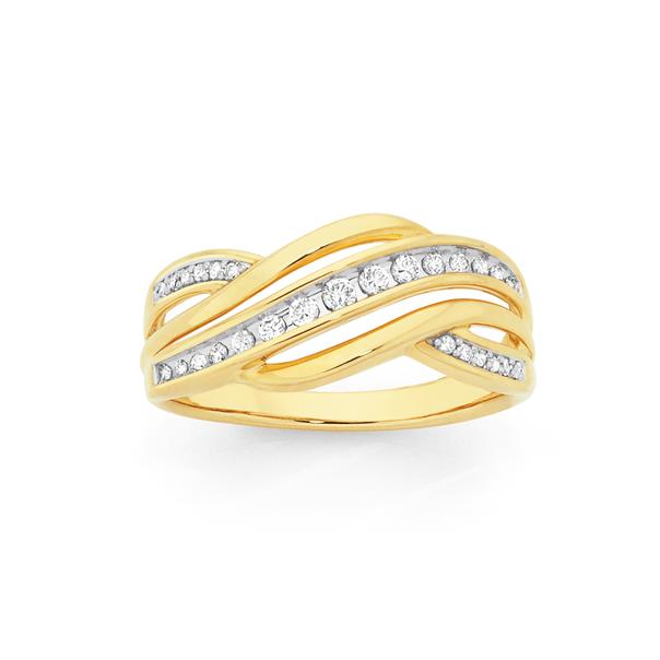 9ct Gold Diamond Swirl Dress Ring