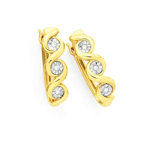 9ct Gold Diamond Twist Hoop Earrings