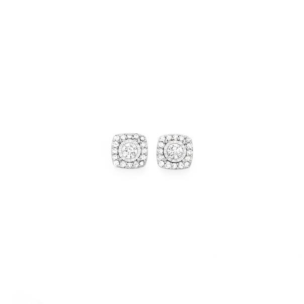 9ct Gold Diamond Two Tone Cushion Stud Earrings