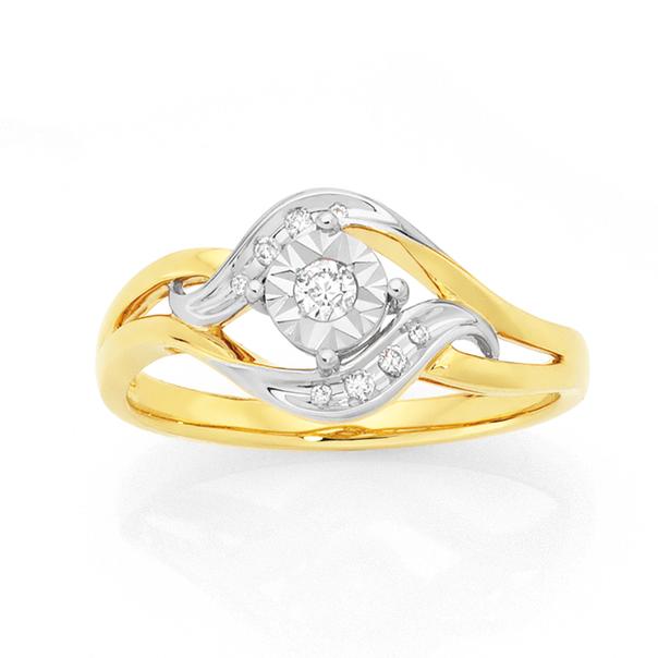 9ct Gold Diamond Two Tone Swirl Dress Ring