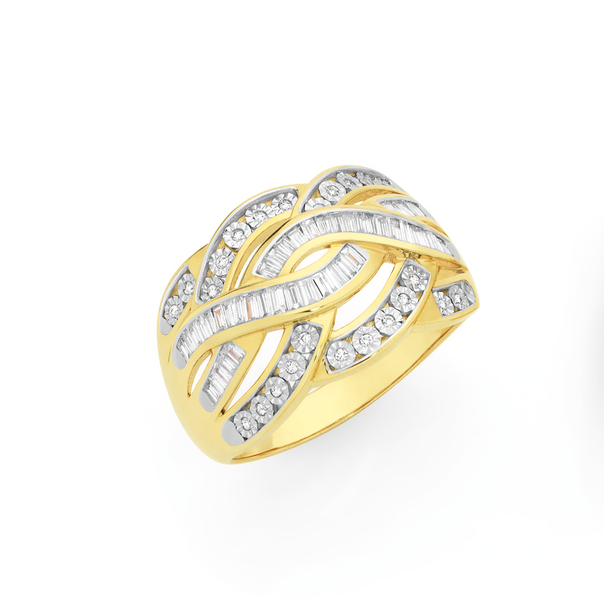 9ct Gold Diamond Wide Crossover Ring