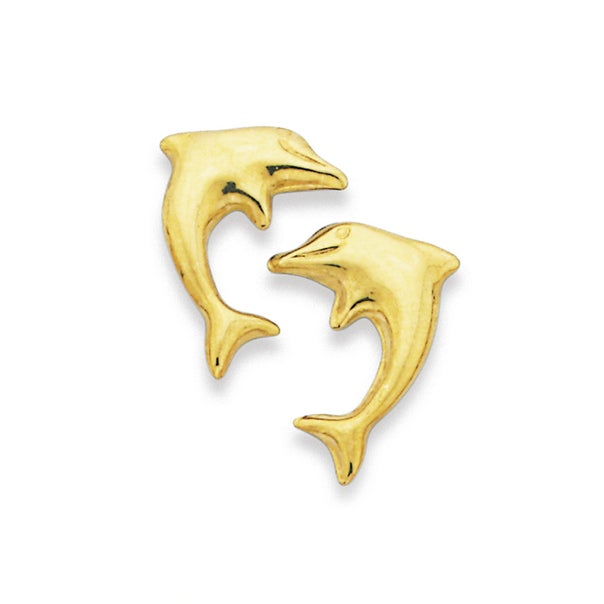 9ct Gold Dolphin Stud Earrings