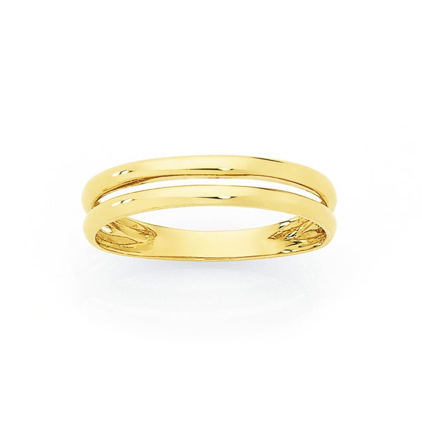9ct Gold Double Band Stacker Ring