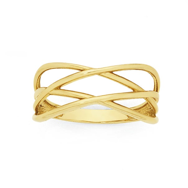 9ct Gold Double Crossover Dress Ring