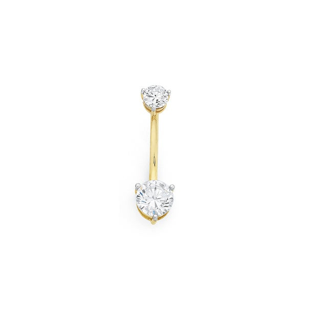 9ct Gold Double Round CZ Belly Bar