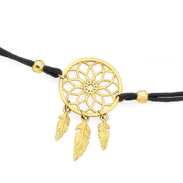 9ct Gold Dream Catcher Black Pullcord Bracelet