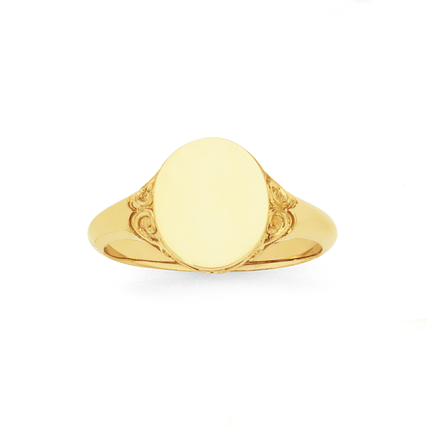9ct Gold Filigree Oval Signet Ring