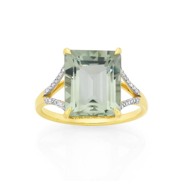 9ct Gold Green Amethyst Emerald Cut Dress Ring