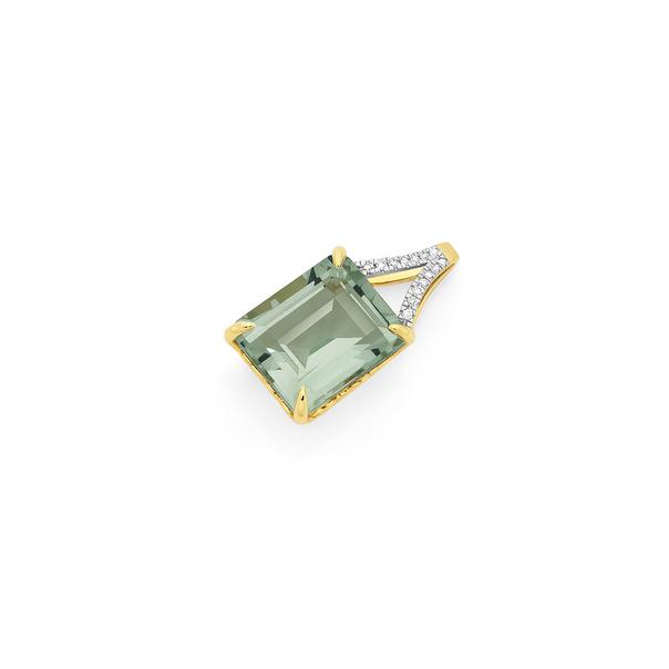 9ct Gold Green Amethyst Emerald Cut Slider Pendant